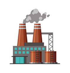 Industrial factory building with polluting smoke vector