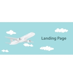 Landing page design with aero plane vector