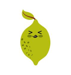 Lemon fresh fruit kawaii character vector