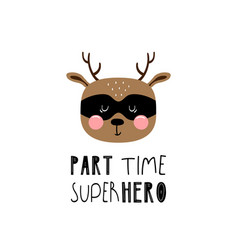 Lettering children poster part time superhero vector