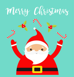 merry christmas santa claus juggling candy cane vector image