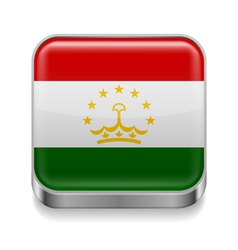 Metal icon of Tajikistan vector image