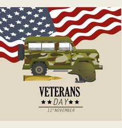 military car with bullet and usa flag vector image