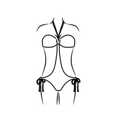 Monochrome thin contour of woman in swimsuit vector