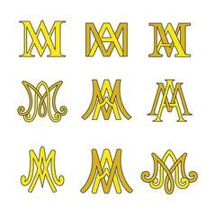 monogram ave maria symbols set vector image