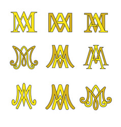 monogram of ave maria symbols set vector image