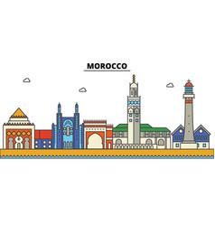 Morocco city skyline architecture buildings vector