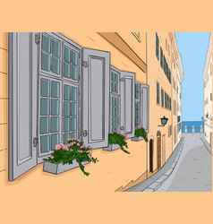 narrow city street with flowers in window boxes vector image