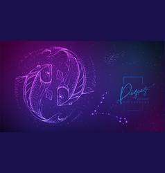 Neon fluid astrology pisces zodiac sign vector