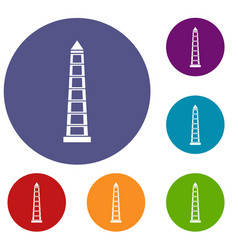 Obelisco of buenos aires icons set vector