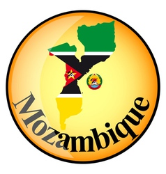 Orange button with the image maps of Mozambique vector