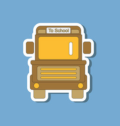 Paper sticker on stylish background school bus vector