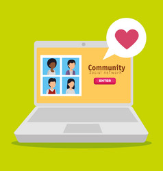 People community and laptop with social profile vector