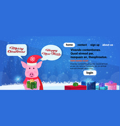 pig holding gift box chat bubble happy new year vector image
