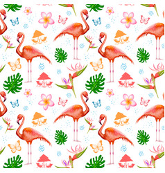 Seamless pattern with exotic tropical flower and vector