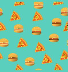 seamlesss pattern pizza and hamburger vector image
