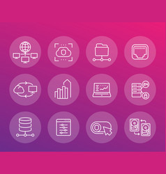 servers networks solutions and hosting line icons vector image