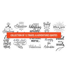 set adventure and travel hand drawn unique vector image