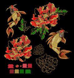 Set patches with embroidery koi carp vector