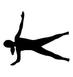 Silhouette of woman doing exercises vector