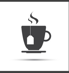 simple grey cup of tea with a tea gab tag vector image