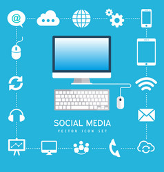 social media computer internet business technology vector image