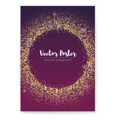 sparkle poster with gold sequins in shape of vector image