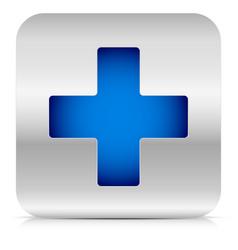 stylish blue cross in metallic square vector image