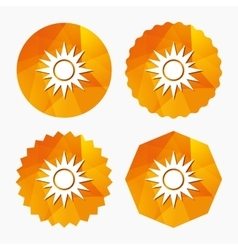 Sun sign icon Solarium symbol Heat button vector image