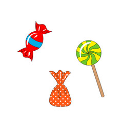 sweet set lollipop and candies objects isolated vector image