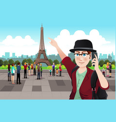 Tourist taking picture near eiffel tower vector