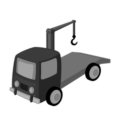 Tow truck icon in monochrome style isolated on vector image