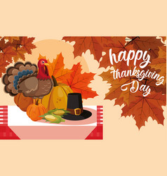turkey with pumpkins and hat pilgrim in table vector image