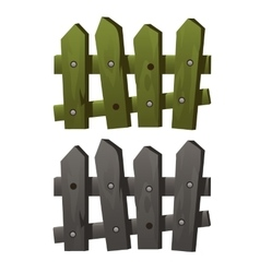 Two fragments wooden fence green and grey colors vector