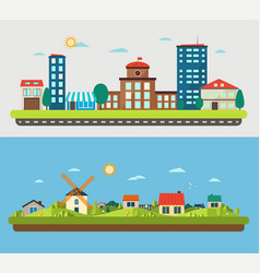 urban and village landscapes vector image vector image