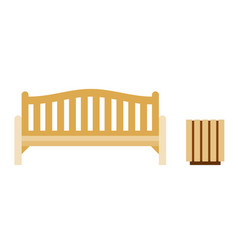 urban wooden bench with urn icon flat isolated vector image