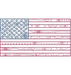 USA flag outline vector image