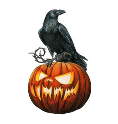 watercolor western raven on a carved glowing vector image