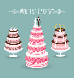 Wedding cake set vector