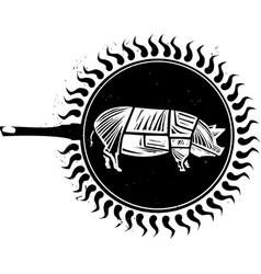 woodcut frying pig vector image