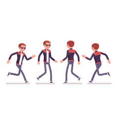 Young man running and walking vector