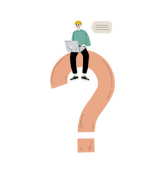 Young man sitting on a big question mark vector