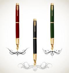 Calligraphy penmanship decorative with fountain vector image