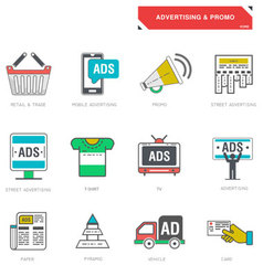 Line icons of advertising marketing product vector image vector image
