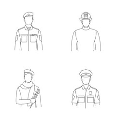 military fireman artist policemanprofession vector image