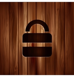 Padlock web icon Wooden texture vector image vector image