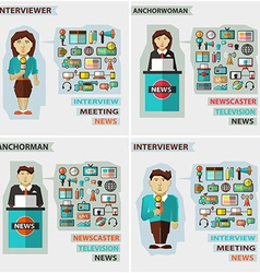 Set of professions Anchorman interviewer vector image