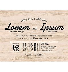 Vintage typography wedding invitation card design vector