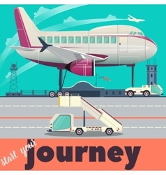 Airport and airplane flat vector