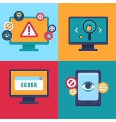 flat icons - internet security and virus vector image